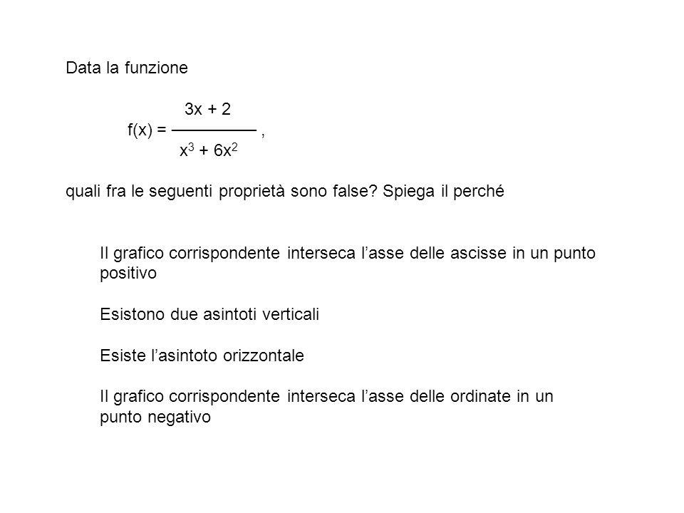 Data la funzione 3x + 2 f(x) = ───────, x 3 + 6x 2 quali fra le seguenti proprietà sono false.