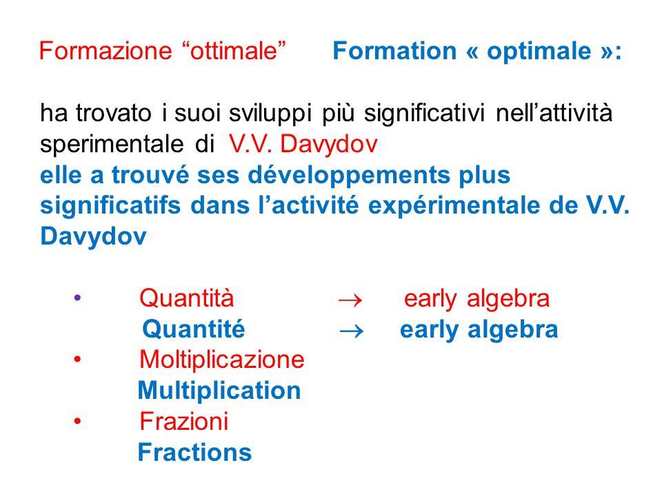Formazione ottimale Formation « optimale »: ha trovato i suoi sviluppi più significativi nell'attività sperimentale di V.V.