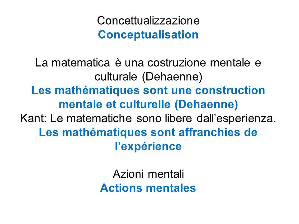 Concettualizzazione Conceptualisation La matematica è una costruzione mentale e culturale (Dehaenne) Les mathématiques sont une construction mentale et culturelle (Dehaenne) Kant: Le matematiche sono libere dall'esperienza.