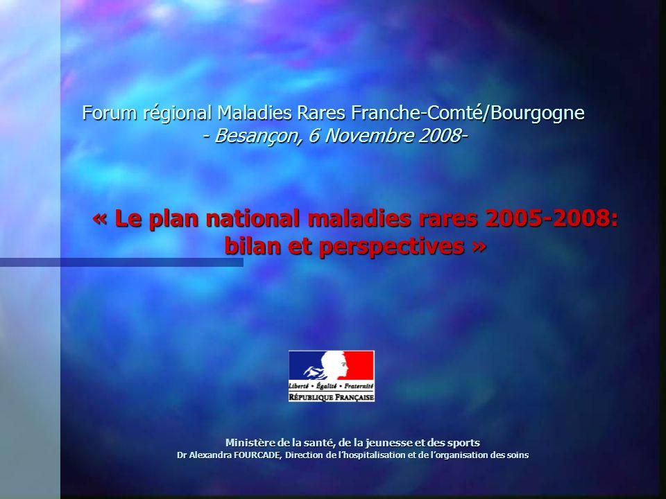 Forum régional Maladies Rares Franche-Comté/Bourgogne - Besançon, 6 Novembre 2008- « Le plan national maladies rares 2005-2008: bilan et perspectives