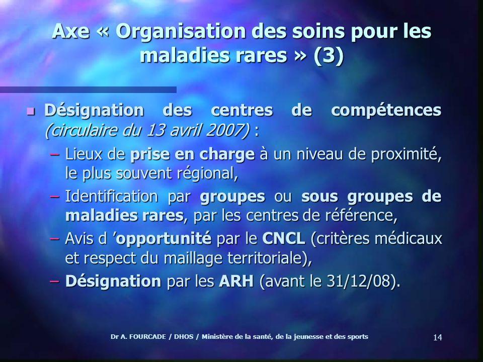 Dr A. FOURCADE / DHOS / Ministère de la santé, de la jeunesse et des sports 14 Axe « Organisation des soins pour les maladies rares » (3) n Désignatio
