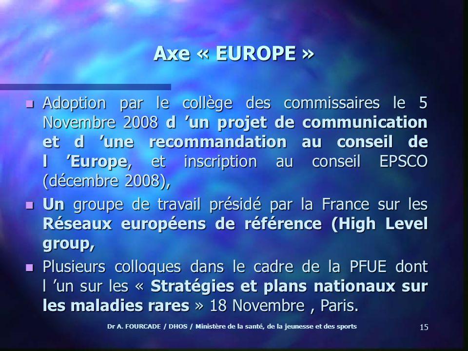 Dr A. FOURCADE / DHOS / Ministère de la santé, de la jeunesse et des sports 15 Axe « EUROPE » n Adoption par le collège des commissaires le 5 Novembre