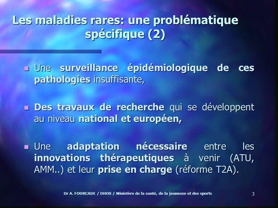 Dr A. FOURCADE / DHOS / Ministère de la santé, de la jeunesse et des sports 3 Les maladies rares: une problématique spécifique (2) n Une surveillance