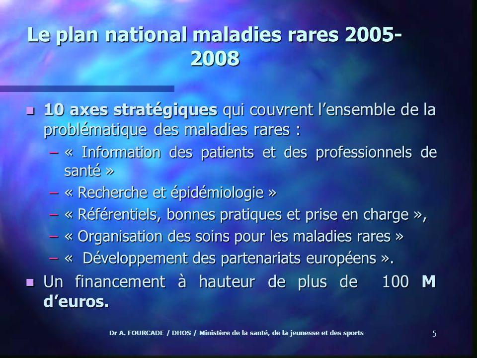 Dr A. FOURCADE / DHOS / Ministère de la santé, de la jeunesse et des sports 5 Le plan national maladies rares 2005- 2008 n 10 axes stratégiques qui co