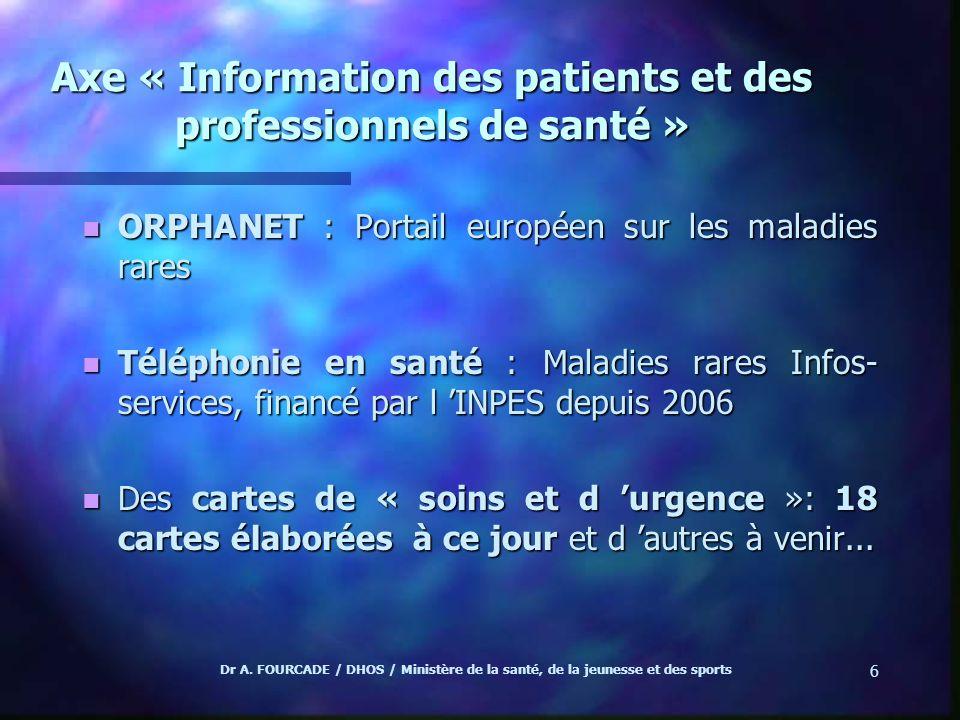Dr A. FOURCADE / DHOS / Ministère de la santé, de la jeunesse et des sports 6 Axe « Information des patients et des professionnels de santé » n ORPHAN