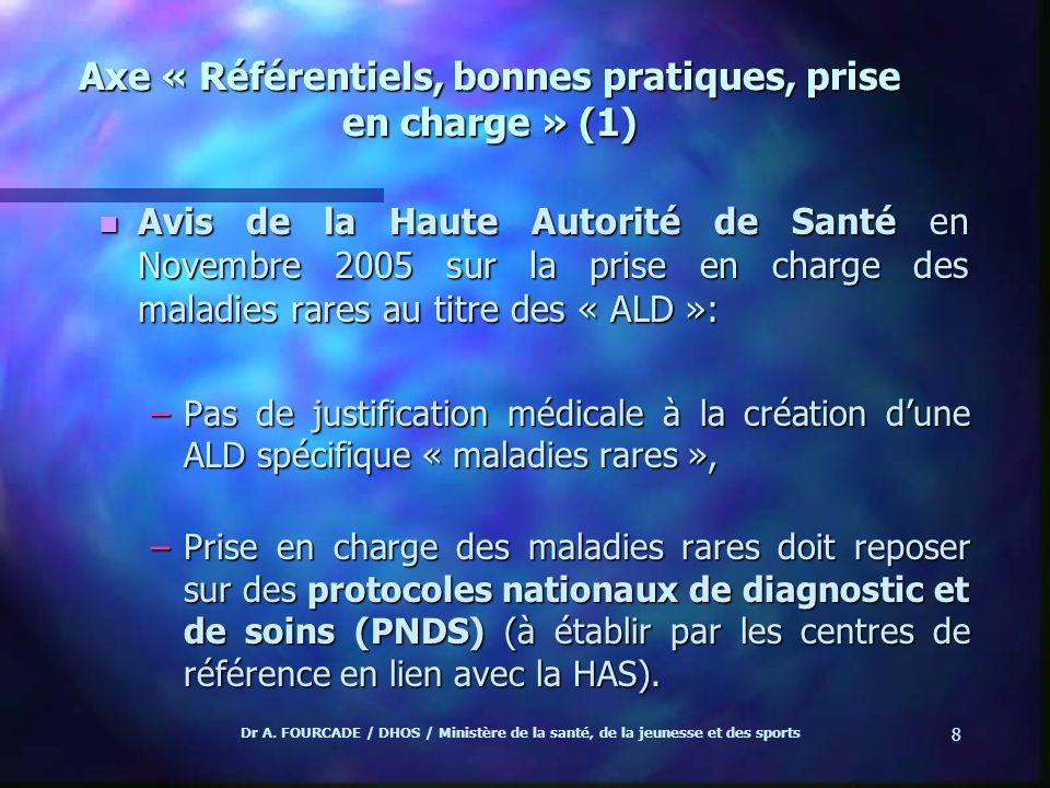 Dr A. FOURCADE / DHOS / Ministère de la santé, de la jeunesse et des sports 8 Axe « Référentiels, bonnes pratiques, prise en charge » (1) n Avis de la