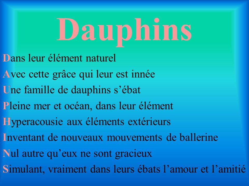 Dauphins Dans leur élément naturel Avec cette grâce qui leur est innée Une famille de dauphins s'ébat Pleine mer et océan, dans leur élément Hyperacou