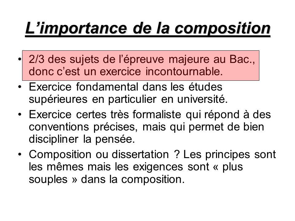 L'importance de la composition 2/3 des sujets de l'épreuve majeure au Bac., donc c'est un exercice incontournable.