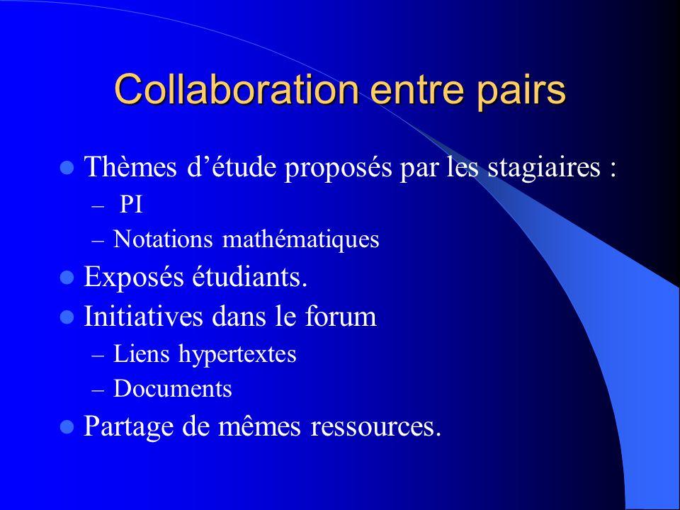 Collaboration entre pairs Thèmes d'étude proposés par les stagiaires : – PI – Notations mathématiques Exposés étudiants.