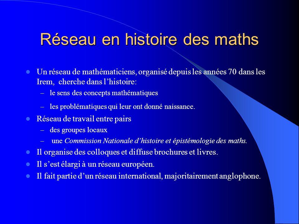 Réseau en histoire des maths Un réseau de mathématiciens, organisé depuis les années 70 dans les Irem, cherche dans l'histoire: – le sens des concepts mathématiques – les problématiques qui leur ont donné naissance.
