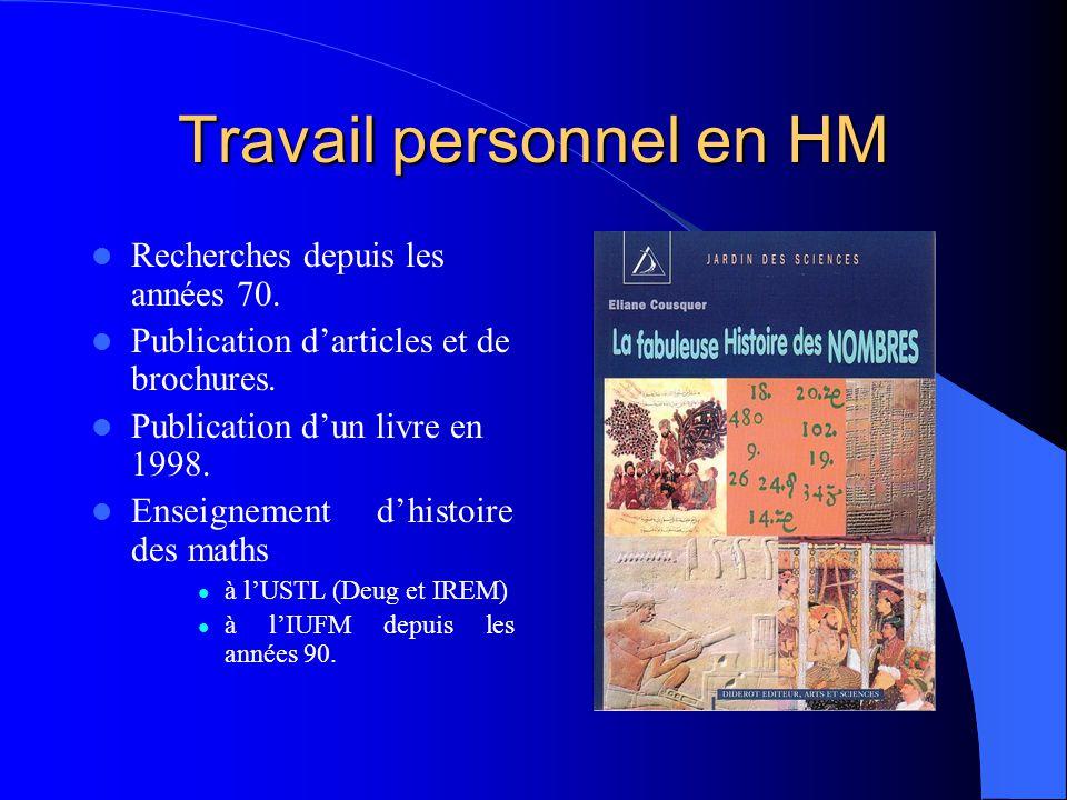 Travail personnel en HM Recherches depuis les années 70.