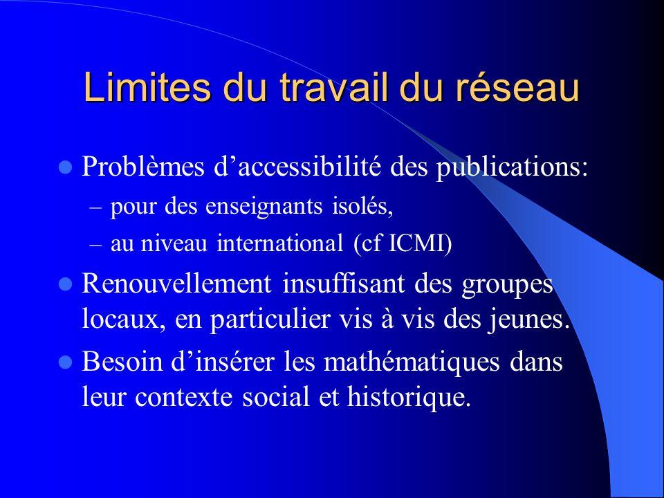 Limites du travail du réseau Problèmes d'accessibilité des publications: – pour des enseignants isolés, – au niveau international (cf ICMI) Renouvellement insuffisant des groupes locaux, en particulier vis à vis des jeunes.