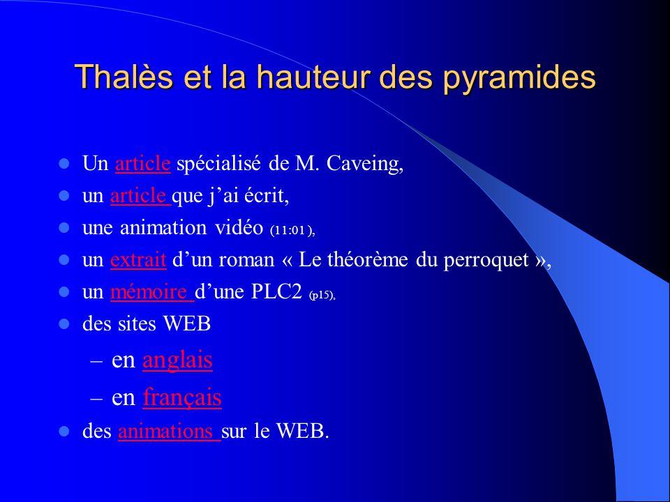 Thalès et la hauteur des pyramides Un article spécialisé de M.