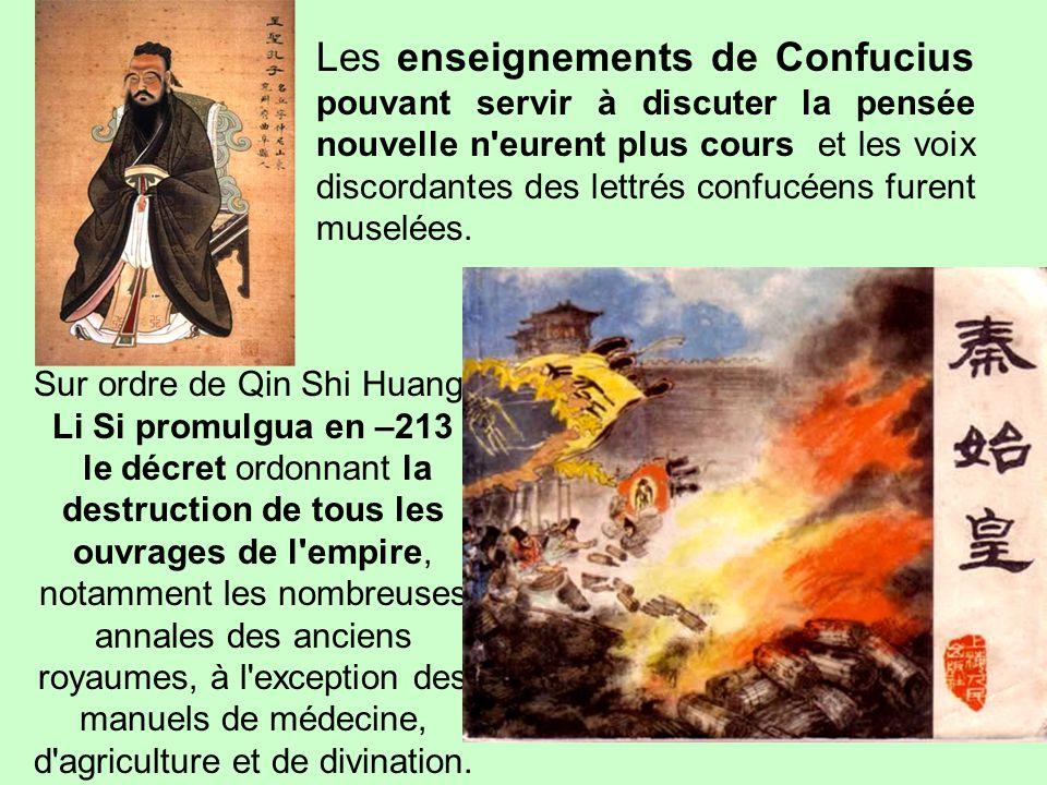 …/… LA PERSECUTION DES LETTRES Le règne de Qin Shi Huangdi fut placé sous le signe de la philosophie légiste, défendue par le ministre Li Si. L'autori