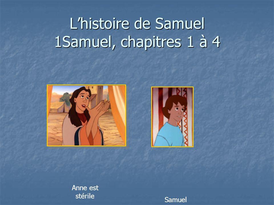 L'histoire de Samuel 1Samuel, chapitres 1 à 4 Anne est stérile Son mari s'appelle Elkana Samuel