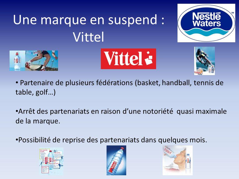 Une marque en suspend : Vittel Partenaire de plusieurs fédérations (basket, handball, tennis de table, golf…) Arrêt des partenariats en raison d'une notoriété quasi maximale de la marque.
