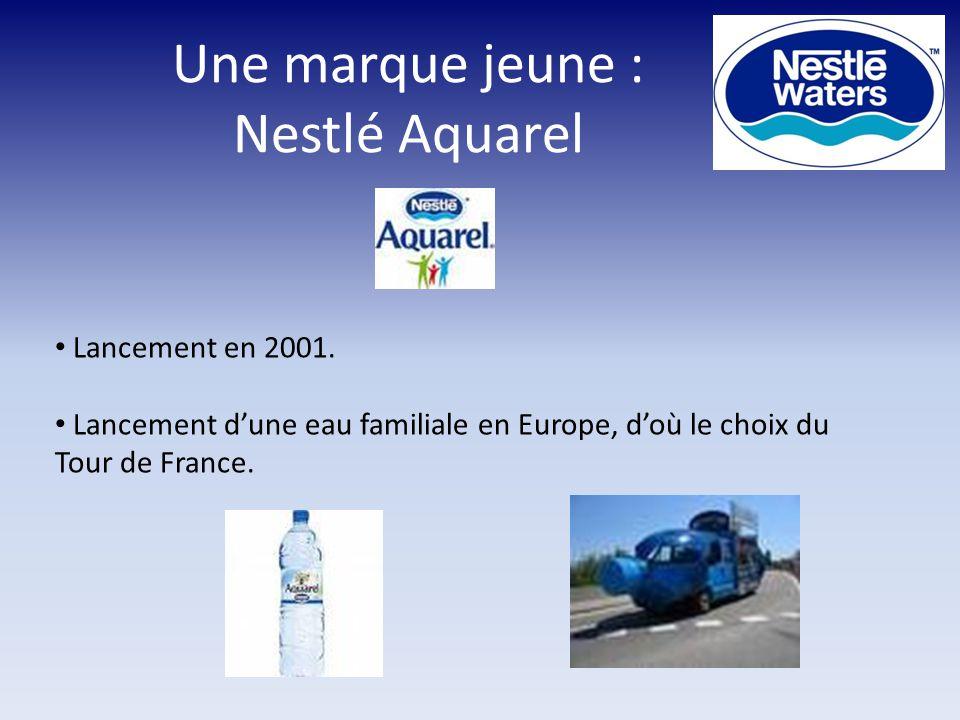 Une marque jeune : Nestlé Aquarel Lancement en 2001. Lancement d'une eau familiale en Europe, d'où le choix du Tour de France.