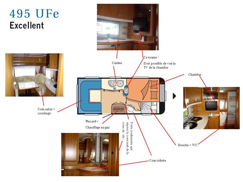 Coin salon + couchage Cuisine Ca tourne ! Il est possible de voir la TV de la chambre Chambre Douche + WC Placard + Chauffage au gaz Porte coulissante
