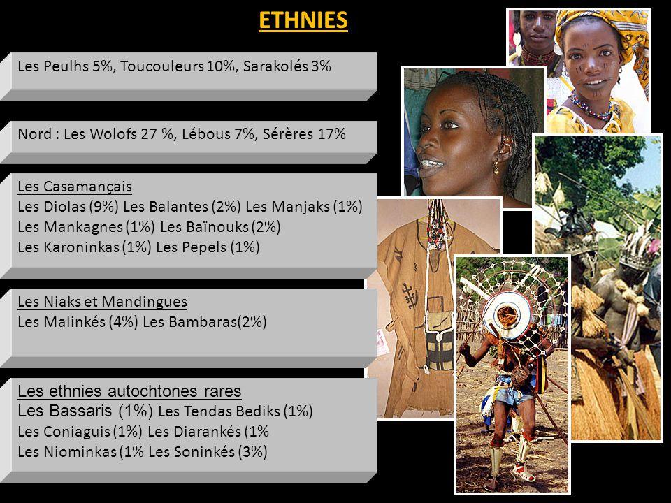ETHNIES Les Peulhs 5%, Toucouleurs 10%, Sarakolés 3% Les ethnies autochtones rares Les Bassaris (1%) Les Tendas Bediks (1%) Les Coniaguis (1%) Les Diarankés (1% Les Niominkas (1% Les Soninkés (3%) Les Niaks et Mandingues Les Malinkés (4%) Les Bambaras(2%) Les Casamançais Les Diolas (9%) Les Balantes (2%) Les Manjaks (1%) Les Mankagnes (1%) Les Baïnouks (2%) Les Karoninkas (1%) Les Pepels (1%) Nord : Les Wolofs 27 %, Lébous 7%, Sérères 17%