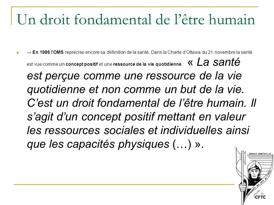 Un droit fondamental de l'être humain → En 1986 l'OMS reprécise encore sa définition de la santé.