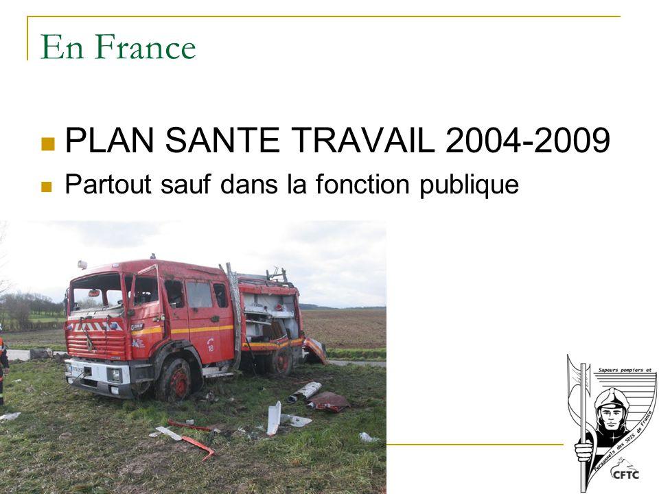 En France PLAN SANTE TRAVAIL 2004-2009 Partout sauf dans la fonction publique