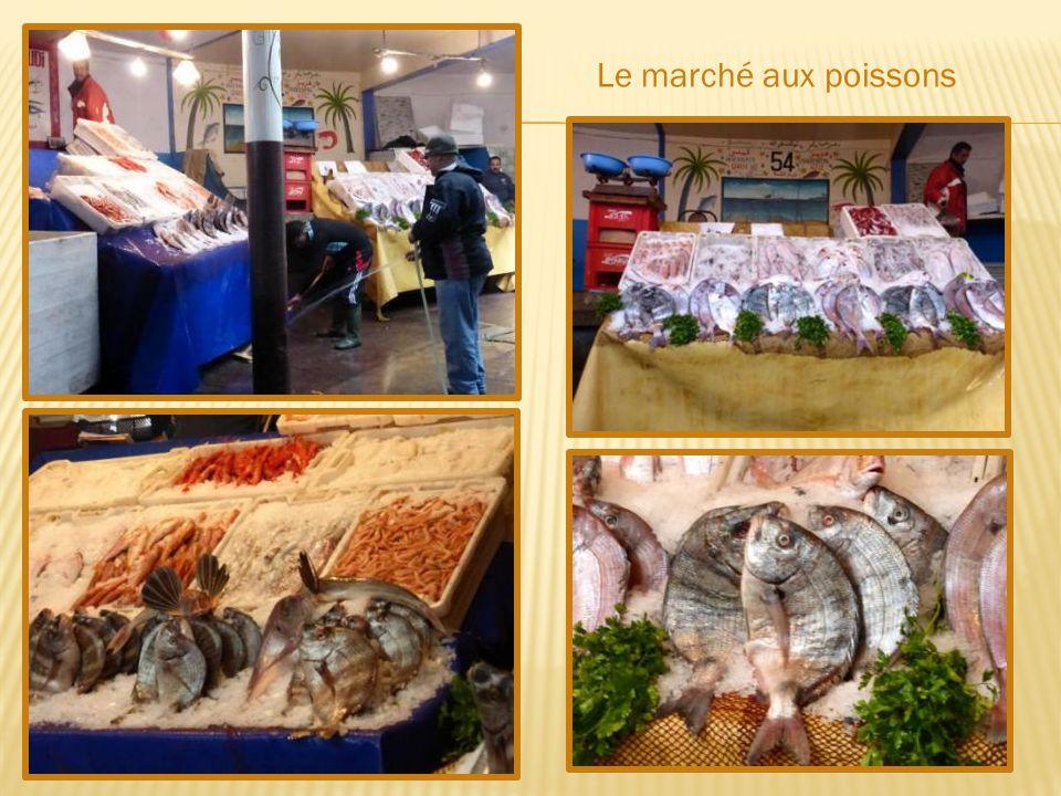 Le port de pêche avec ses barques bleues et ses vieux chalutiers Premier port de pêche du Maroc, on peut assister au débarquement des poissons surgelés en mer