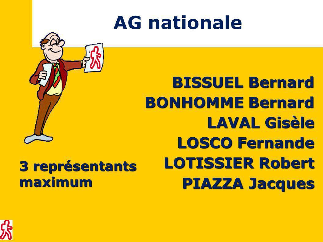 AG nationale BISSUEL Bernard BONHOMME Bernard LAVAL Gisèle LOSCO Fernande LOTISSIER Robert PIAZZA Jacques 3 représentants maximum