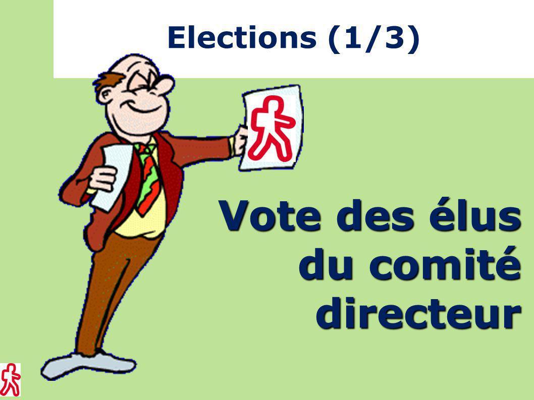 Elections (1/3) Vote des élus du comité directeur