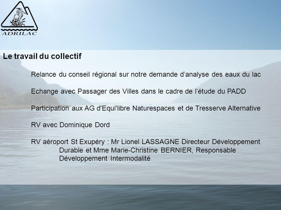 Le travail du collectif Relance du conseil régional sur notre demande d'analyse des eaux du lac Echange avec Passager des Villes dans le cadre de l'ét