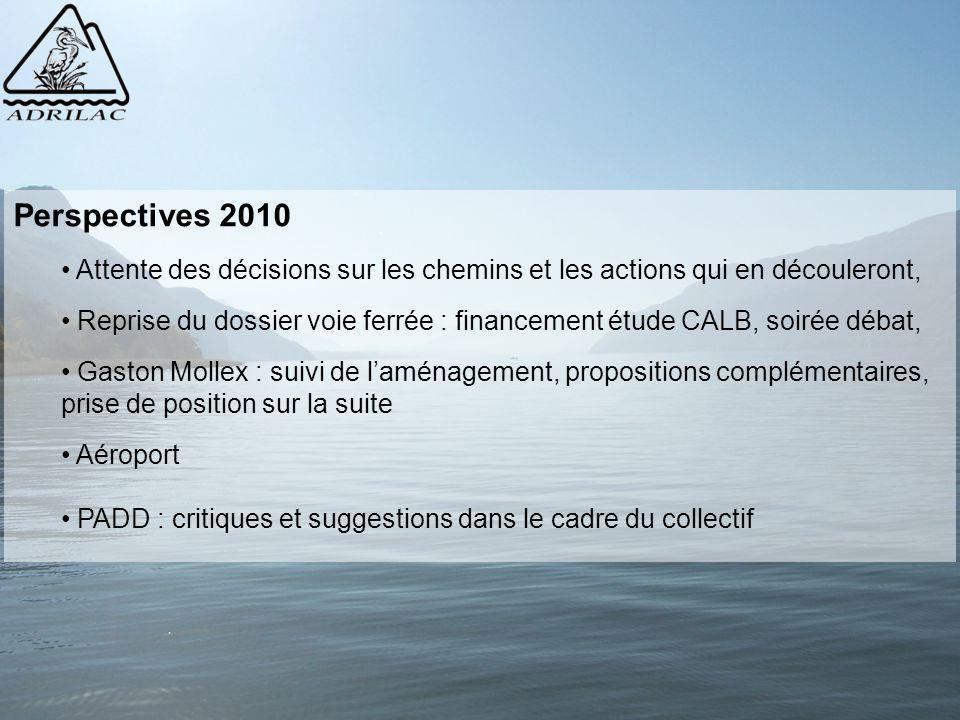 Perspectives 2010 Attente des décisions sur les chemins et les actions qui en découleront, Reprise du dossier voie ferrée : financement étude CALB, so
