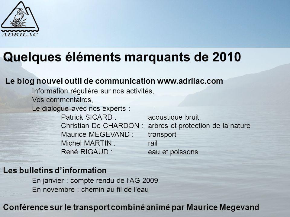 Quelques éléments marquants de 2010 Le blog nouvel outil de communication www.adrilac.com Information régulière sur nos activités, Vos commentaires, L