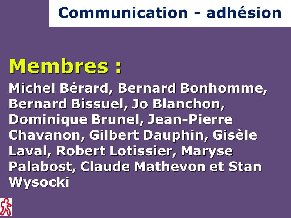 Membres : Michel Bérard, Bernard Bonhomme, Bernard Bissuel, Jo Blanchon, Dominique Brunel, Jean-Pierre Chavanon, Gilbert Dauphin, Gisèle Laval, Robert Lotissier, Maryse Palabost, Claude Mathevon et Stan Wysocki Communication - adhésion