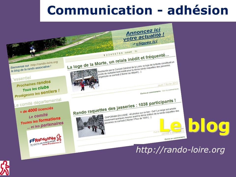 Communication - adhésion Evolution du nombre de licenciés (hors randocarte ® )