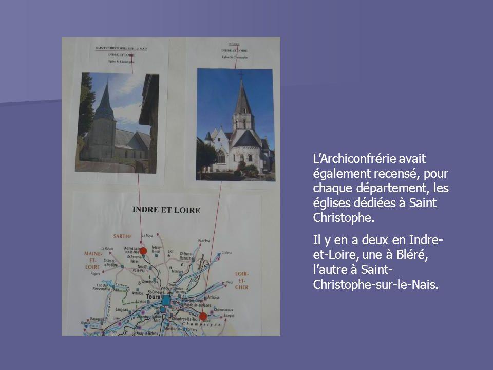 L'Archiconfrérie avait également recensé, pour chaque département, les églises dédiées à Saint Christophe.