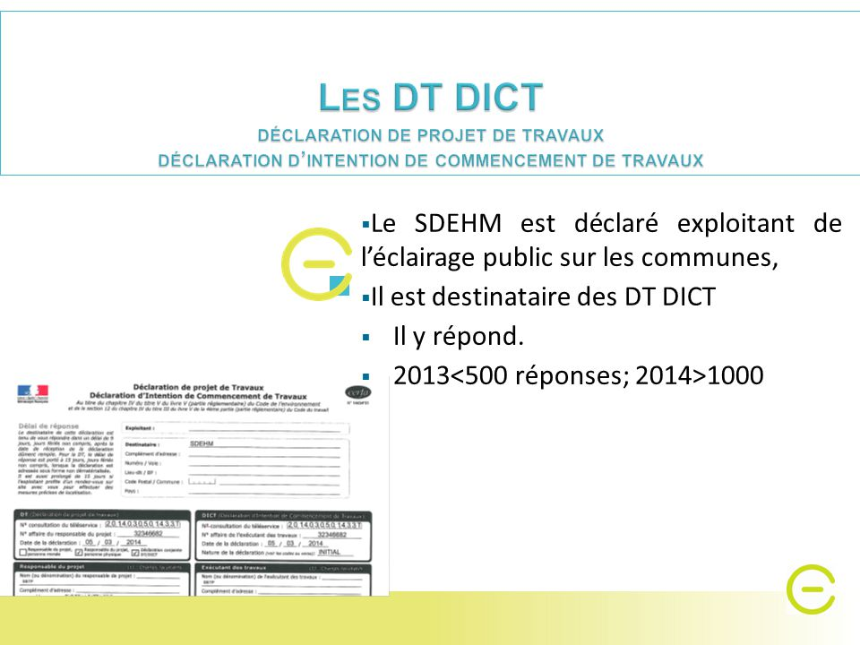  Le SDEHM est déclaré exploitant de l'éclairage public sur les communes,  Il est destinataire des DT DICT  Il y répond.