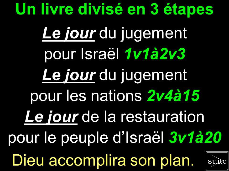 Un livre divisé en 3 étapes Le jour du jugement pour Israël 1v1à2v3 Le jour du jugement pour les nations 2v4à15 Le jour de la restauration pour le peuple d'Israël 3v1à20 Dieu accomplira son plan.