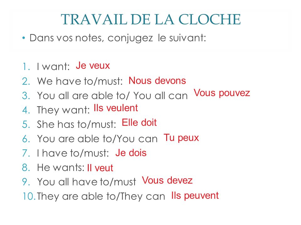 TRAVAIL DE LA CLOCHE Dans vos notes, conjugez le suivant: 1.I want: 2.We have to/must: 3.You all are able to/ You all can 4.They want: 5.She has to/mu