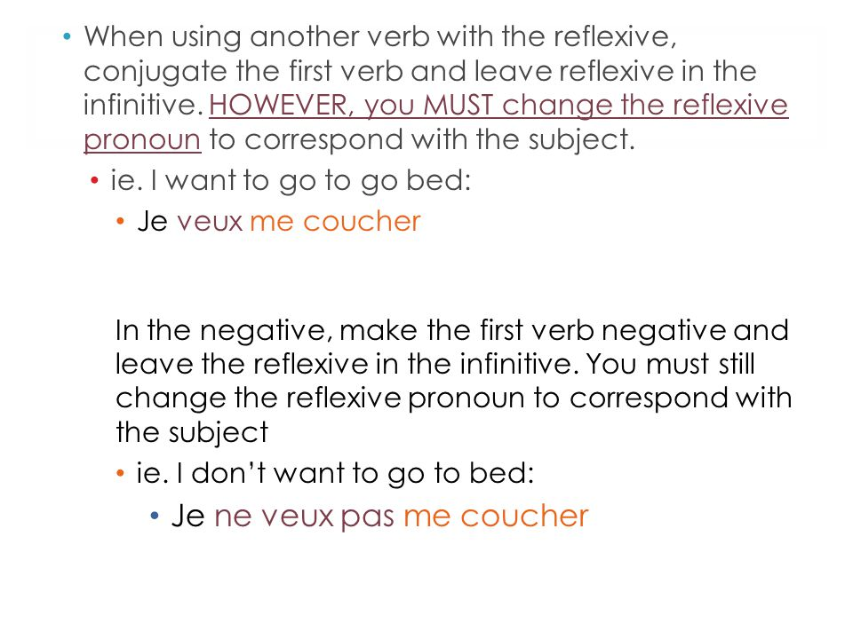 When using another verb with the reflexive, conjugate the first verb and leave reflexive in the infinitive. HOWEVER, you MUST change the reflexive pro