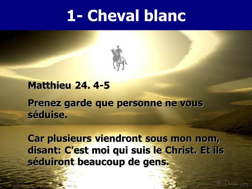 5 Car plusieurs viendront sous mon nom, disant: C'est moi qui suis le Christ. Et ils séduiront beaucoup de gens. 6 Vous entendrez parler de guerres et