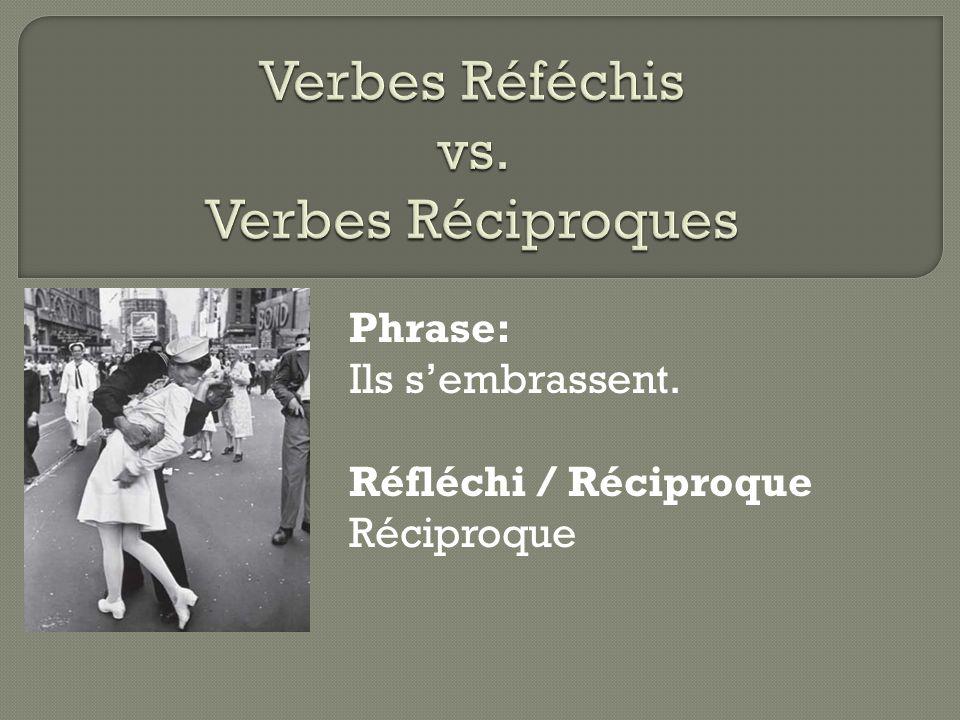 Phrase: Ils s'embrassent. Réfléchi / Réciproque Réciproque