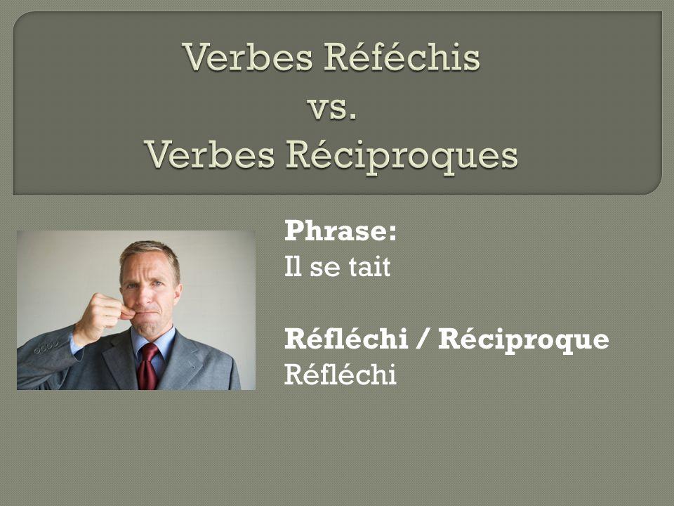 Phrase: Il se tait Réfléchi / Réciproque Réfléchi