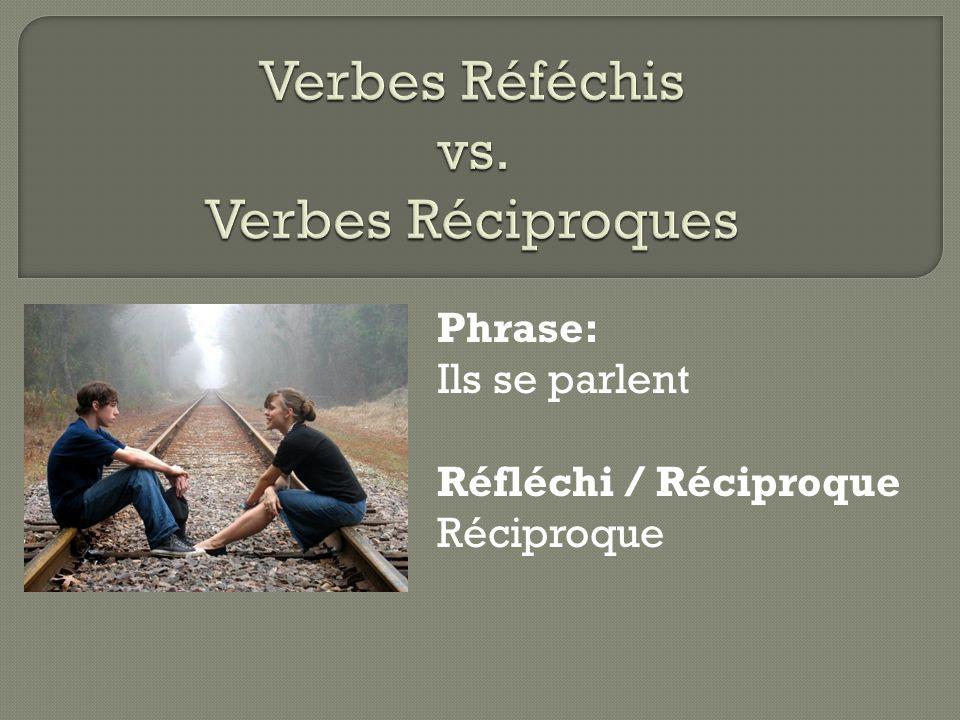 Phrase: Ils se parlent Réfléchi / Réciproque Réciproque