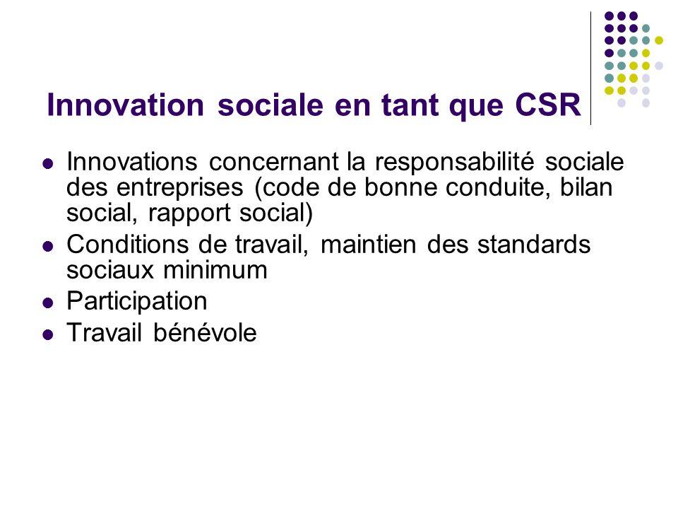 Innovation sociale en tant que CSR Innovations concernant la responsabilité sociale des entreprises (code de bonne conduite, bilan social, rapport soc
