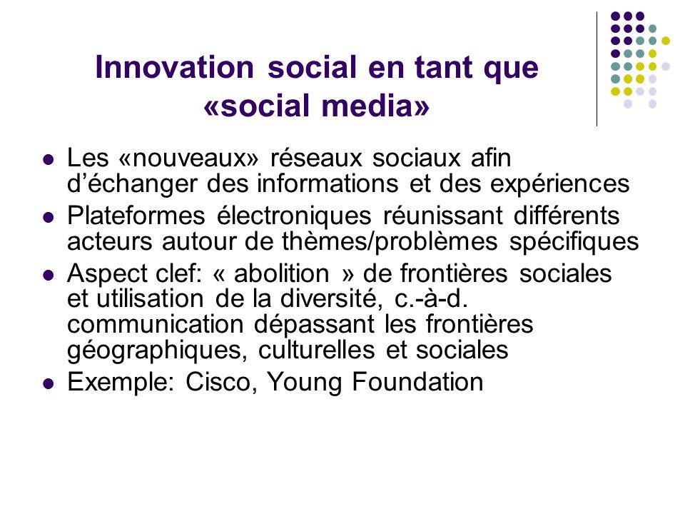 Innovation social en tant que «social media» Les «nouveaux» réseaux sociaux afin d'échanger des informations et des expériences Plateformes électroniq