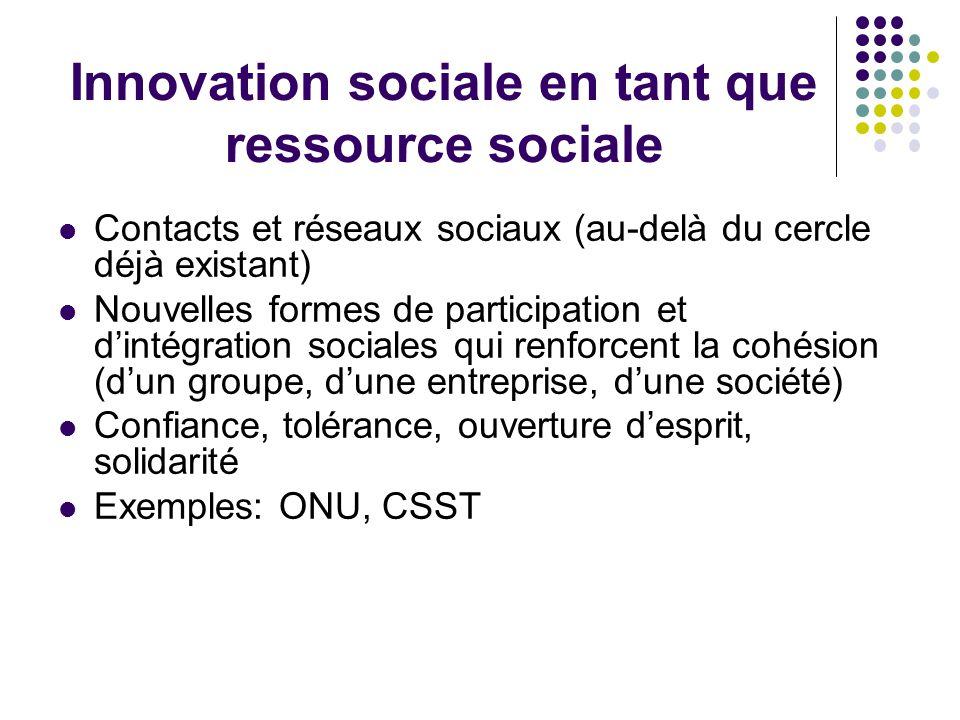 Innovation sociale en tant que ressource sociale Contacts et réseaux sociaux (au-delà du cercle déjà existant) Nouvelles formes de participation et d'