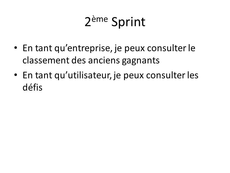 2 ème Sprint En tant qu'entreprise, je peux consulter le classement des anciens gagnants En tant qu'utilisateur, je peux consulter les défis