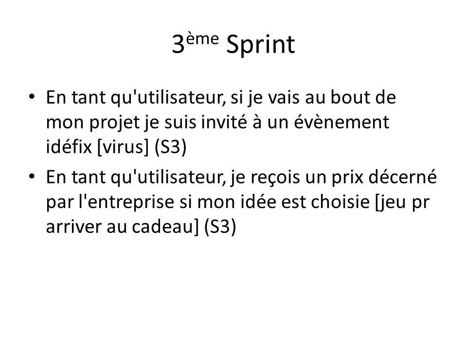 3 ème Sprint En tant qu utilisateur, si je vais au bout de mon projet je suis invité à un évènement idéfix [virus] (S3) En tant qu utilisateur, je reçois un prix décerné par l entreprise si mon idée est choisie [jeu pr arriver au cadeau] (S3)