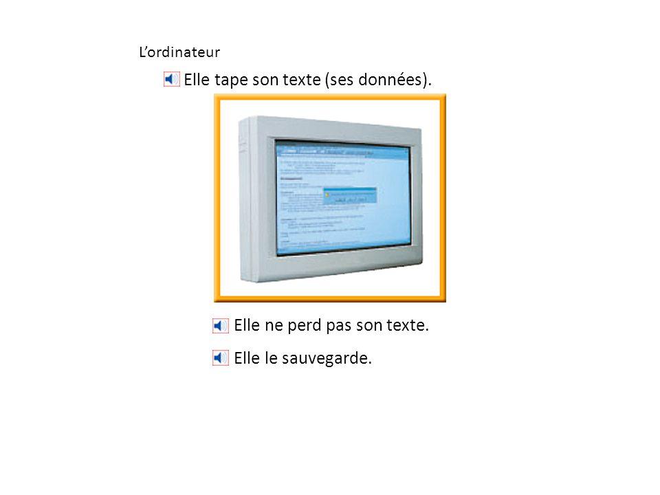 L'ordinateur Elle ne perd pas son texte. Elle le sauvegarde. Elle tape son texte (ses données).