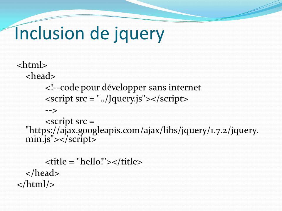 Inclusion de jquery <!--code pour développer sans internet -->