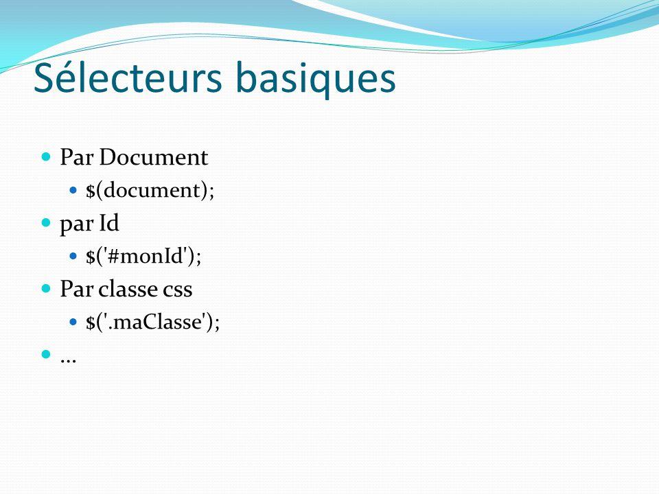 Sélecteurs basiques Par Document $(document); par Id $('#monId'); Par classe css $('.maClasse'); …